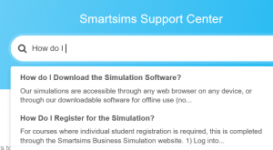 Smartsims support search bar
