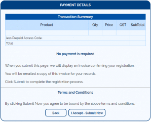 confirm registration details prepaid access code