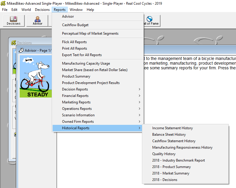 accessing historical reports in the windows version