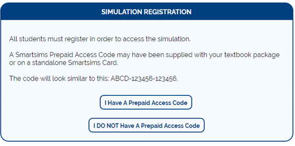 Select Prepaid Access Code or Credit Card
