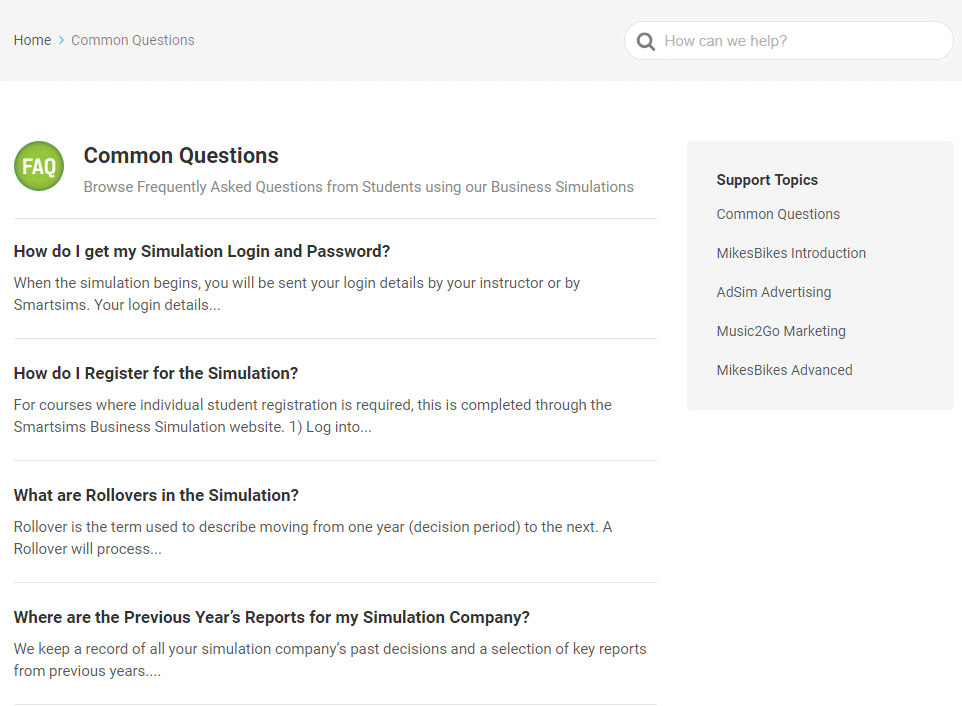 simulation common questions page