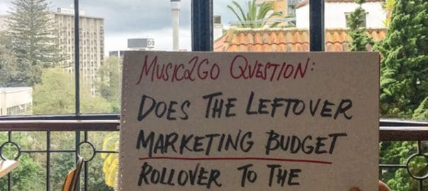 "Image of question on piece of paper: ""Does the leftover marketing budget rollover to the next period?"""