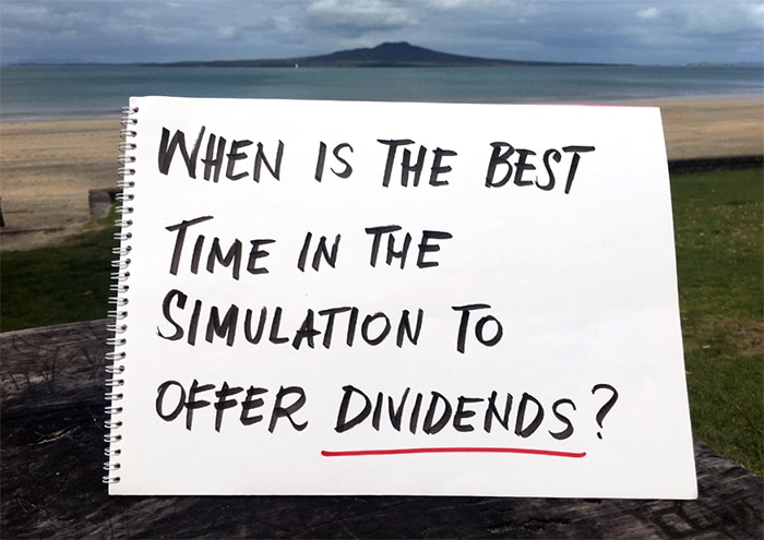 "New Zealand landscape with a question ""When is the best time in the simulation to offer dividends?"""