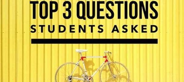 Photo with bike and article title, top 3 questions student asked