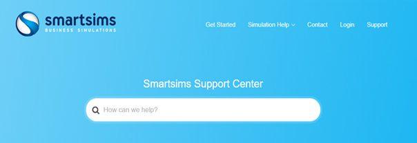 Smartsims Support Center header