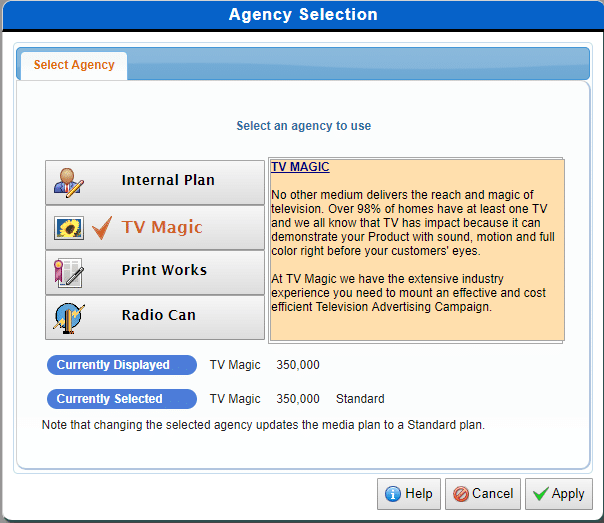 Agency selection screen in AdSim