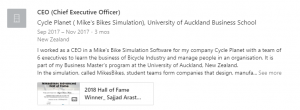Sajjad Arastu - Screenshot of LinkedIn account mentioning MikesBikes experience