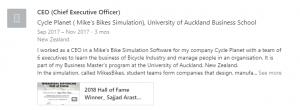 Sajjad Arastu - Screenshot of LinkedIn account mentioning MikesBikes experience
