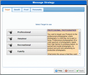 message strategy in AdSim