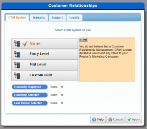 Customer Relationship Management Decisions tab in AdSim Advertising Simulation showing decision screens